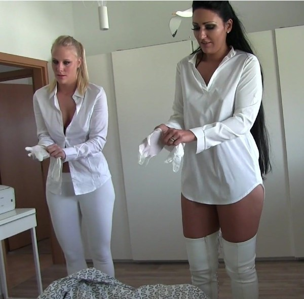 Lara Cum Kitten -  Two Girl Handjob In Latex Gloves